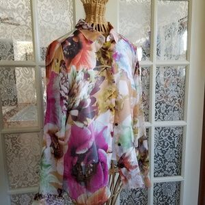 Simply Vera Floral Sheer Button-down Blouse